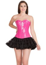 Pink Faux Leather Gothic Burlesque Steampunk tutu Skirt Overbust Corset Dress - $69.57