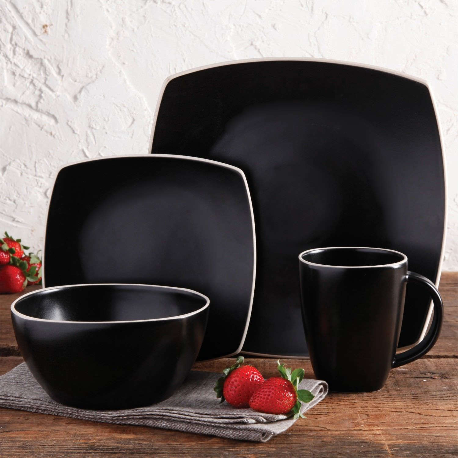 & Black Matte Dinnerware Set Kitchen Dining and 50 similar items