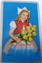 Set of 6 Dutch Girl Holding Flowers Playing Cards for crafting collage repurpose image 4