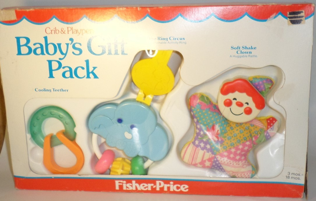 Fisher Price Baby Gift Pack 1983 Crib Playpen Toys teether activity ring rattle