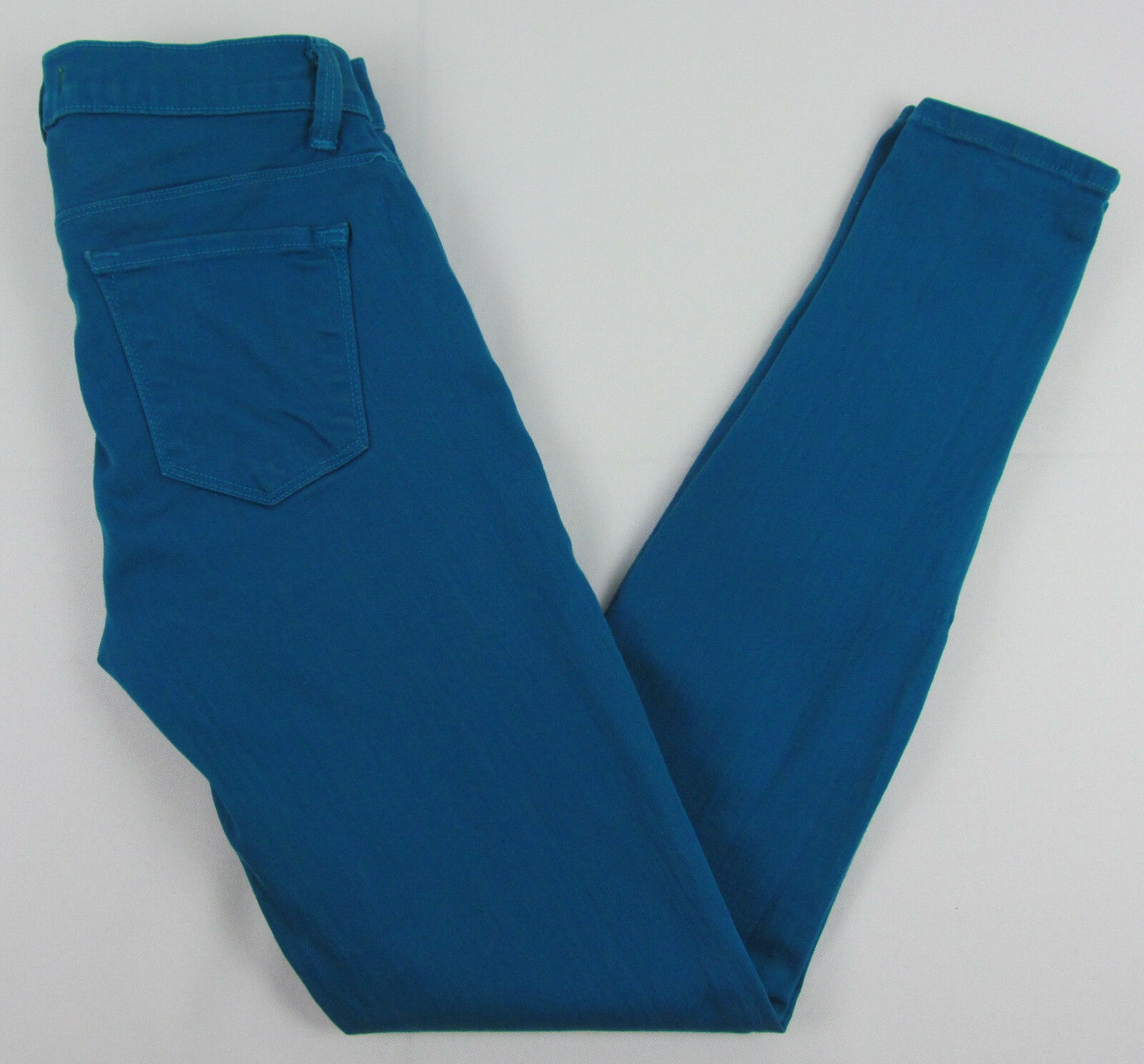 J Brand jeans Azure Ankle Skinny Zipper cuffs USA Made Teal Womens Size 25