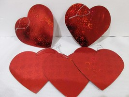 "Valentines Day Red Holographic 5.5"" Hearts Ornaments Decor Set of 5 - $12.99"