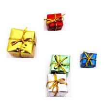 5 x Foil Wrapped Christmas Gift #14 Present Dollhouse Miniatures by Beth - $3.24