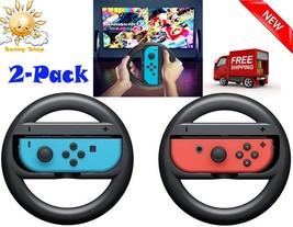 Mario Kart Steering Wheel for Nintendo Switch Joy-Con Black 2 Pack NEW - $8.14