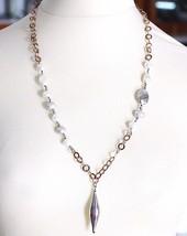 Halskette Silber 925, Perlen Barock-Stil, Kette Rolo Pink Strick, Anhäng... - $126.16
