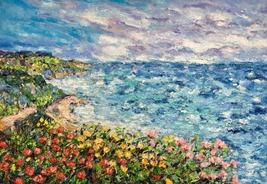 "Seascape Coastal Sailing Boat Ship Oil Painting On Canvas ""Blooming Coas... - $219.00"