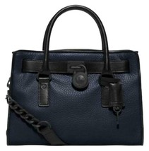 MICHAEL KORS HAMILTON FRENCH BINDING NAVY BLUE BLACK EW SATCHEL BAG $348... - $228.00