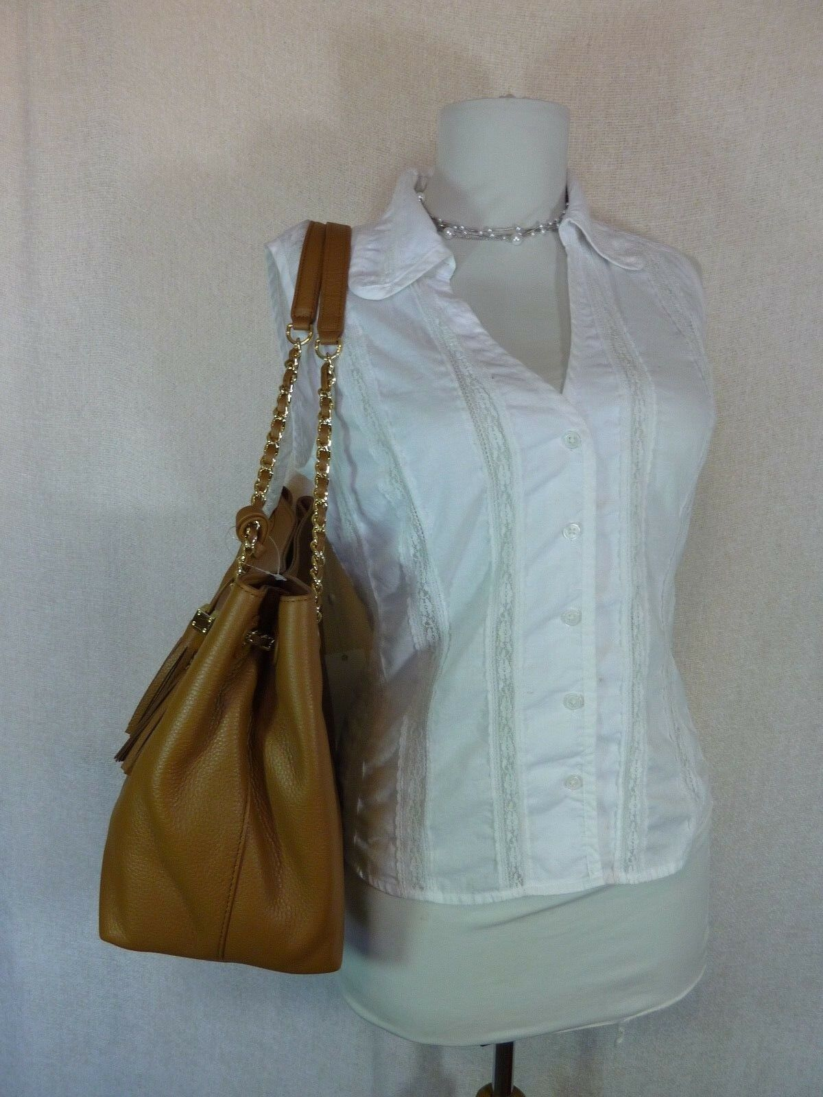 NWT Tory Burch Bark Brown Pebbled Leather Thea Chain Slouchy Tote $495 image 3