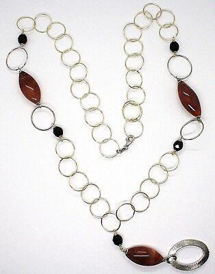 Collier Argent 925, Jaspe Ovale ,Longueur 80 cm, Cercles Grandes, Pendentif