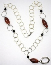 Collier Argent 925, Jaspe Ovale ,Longueur 80 cm, Cercles Grandes, Pendentif image 1