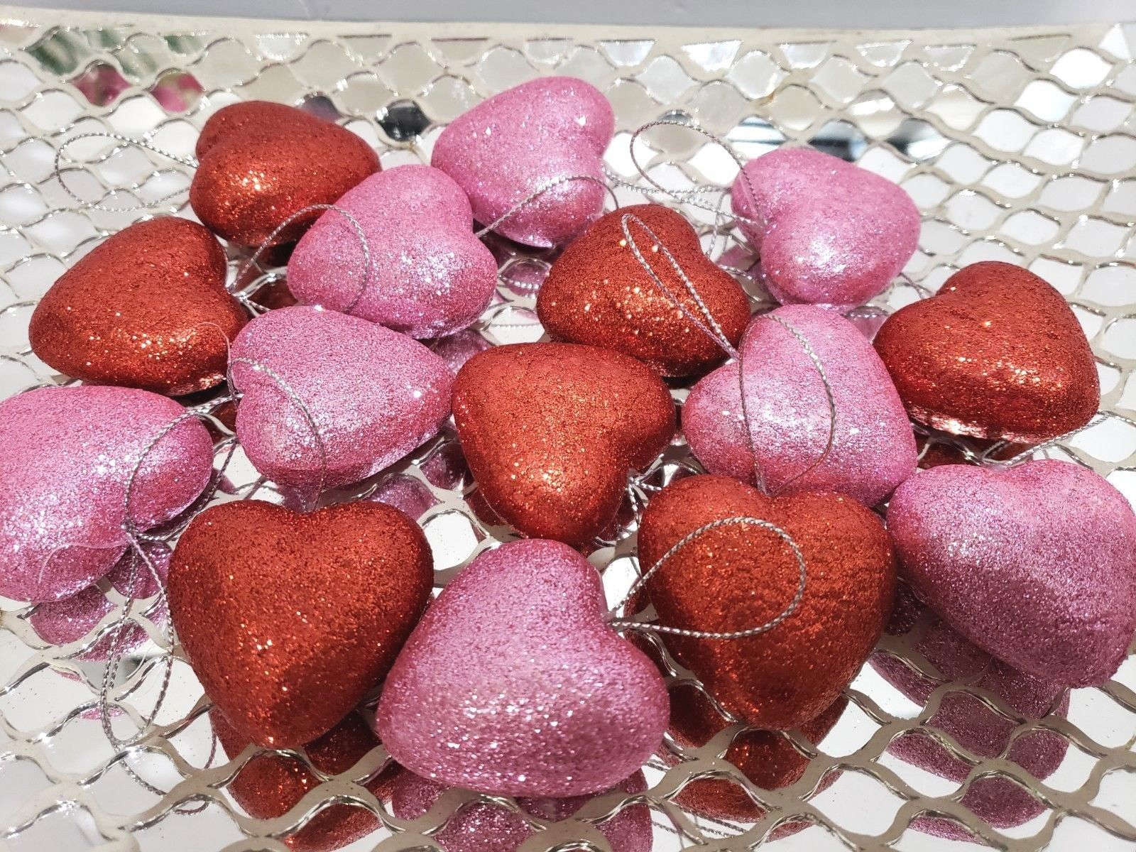 "Valentines Day Pink Red Glitter Hearts 1.5"" Ornaments Decorations Decor S/15"