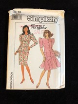 1989 Simplicity Sewing Pattern 9018 SZ 10-12-14 2 PC Dress Uncut - $5.45