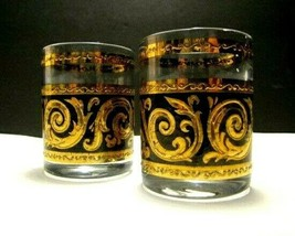 2 Small Mid Century Drinking Glasses, Thick Gold Paint, Black & Clear - $9.89