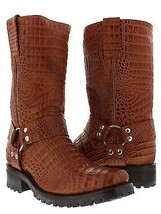 Mens Cognac Biker Boots Crocodile Belly Pattern Leather Cowboy Motorcycl... - £136.45 GBP