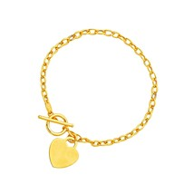 Toggle Bracelet with Heart Charm in 14k Yellow Gold Quality Jewelry Unique - $305.02