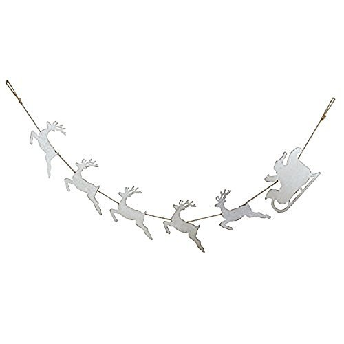 "Creative Co-op Home for The Holidays 72"" L Tin Santa with Sleigh & Reindeer Garl"