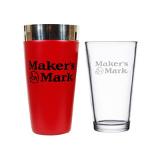 Maker's Mark Stainless Steel Boston Cocktail Shaker Glass Set Red - $28.98