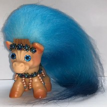 VINTAGE DAM HORSE TROLL ~  FRESH FROM THE SPA ~ NEW HAIR & BLUE SPARKLE ... - $95.00