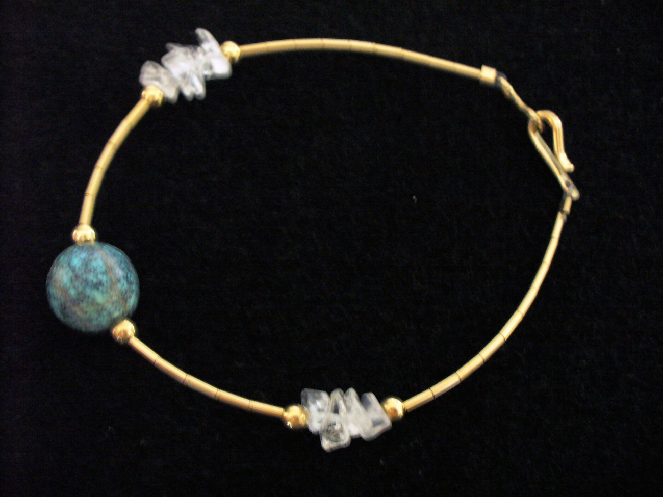Turquoise and Quartz Liquid 12/20 Gold Bracelet