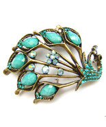 Green Blue Peacock Spread Tail Feather Colourful Crystal Elegant Brooch ... - $9.99