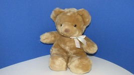 Carters Tykes baby brown bear plush toy I'm so cuddly cute neck ribbon bow - $6.92