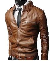 Mens Brown  Handmade Cowhide Black  Real Bespoke Genuine Leather Jacket - $118.79+