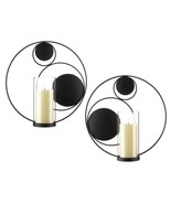 Pair of Modern Circular Wall Sconces Candle Holders - $26.99