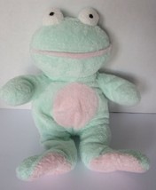 "Ty Pluffies Frog Grins Beanie Tylux Mint Green Pale Pink 10"" Plush Sewn Eyes  - $29.65"