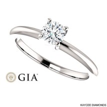 1/2 (0.50) Carat GIA Certified Diamond Ring in 14K Gold (with GIA certificate)