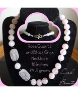 Rose Quartz and Black Onyx Necklace and Earrings - New! - $38.00