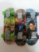 2010 Star Wars CLONE WARS  Finger Skateboards Lot of 3 Anakin Yoda Bane - $9.49