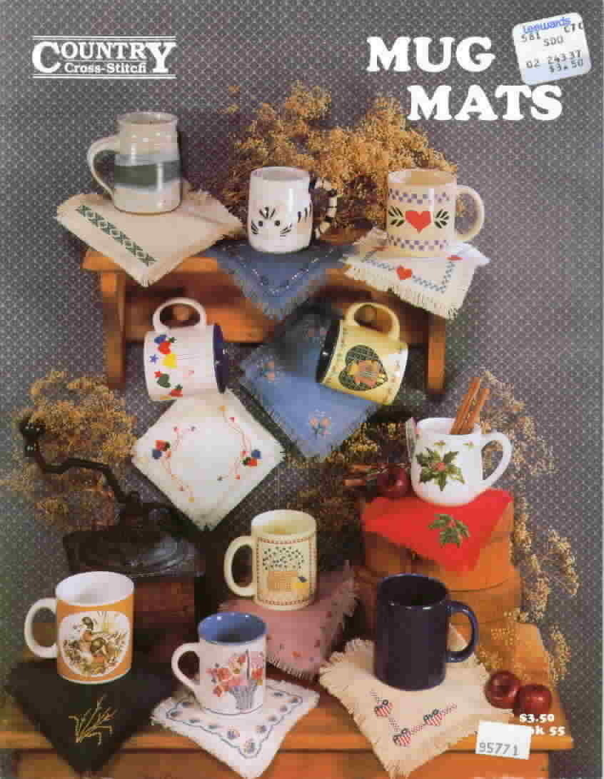 Country cross stitch mug mats