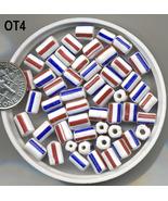 OT4 VINTAGE VENETIAN RED/WHITE/BLUE STRIPED TUBE BEADS  - $1.50