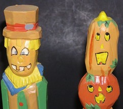 Halloween Holiday Decor Wood Carvings Spooky Man Pumpkin Woman Orange Blue - $9.78