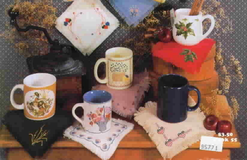 Country Cross Stitch Mug Mats by Jeannie Pierce