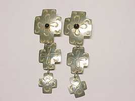 STERLING CROSS DANGLE EARRINGS with Black Onyx - Artisan-made - 3.75 inc... - $135.00