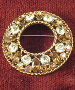 Vintage Signed Regency Rhinestone Brooch Pin - $19.00