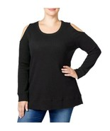 Style & Co. Womens Plus Size Black Cold-Shoulder Thermal Pullover Top 2X... - $21.78