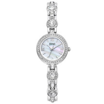 New Badgley Mischka Silver Crystal Accented Pearl Face Dress/Formal Watch NIB