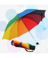 Rainbow Umbrella Popular Creative Men Women Three Folding Kid Children U... - $16.82