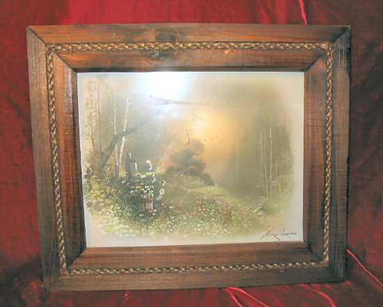 Vintage Framed  Andres Orpinas Signed Print Forest