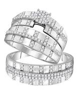 10kt White Gold His & Hers Round Diamond Cluster Matching Bridal Wedding... - $637.55