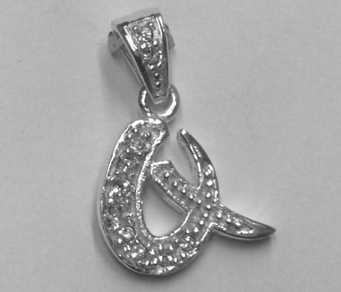 "Sterling Silver & Cubic Zirconia Initial Pendant ""Q"""