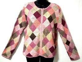 Talbots Petite Women's L Brown/Tan/Red Crochet Checkered Zipper Sweater Cardigan - $17.27