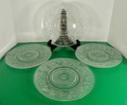 Duncan Miller SANDWICH GLASS Sawtooth Clear Dinner Plate (s) LOT OF 4 Sc... - $96.97