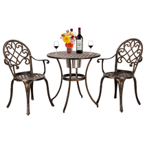 Cast Aluminum 3pcs Patio Bistro Set of Table and Chairs with Ice Bucket ... - $221.73