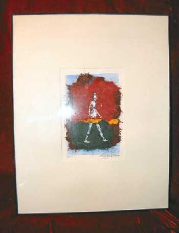 Framed Mixed Media Signed Abstract Print Art Nyugen E. Smith