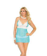 Pastel Blue Mesh and Lace Baby Doll / Negligee, 1X, 2X, or 3X - $27.90