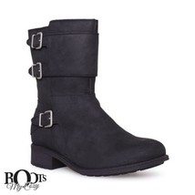 UGG WILCOX BLACK LEATHER ANKLE WOMEN'S MOTO BOOTS SIZE US 9.5/UK 8/EU 40... - $152.99