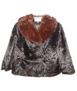 Broad Curl Vtg Cropped Jacket size Large w Fur Collar Black 1950's City ... - $125.00